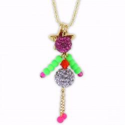 sautoir poupée cristal mauve, rose et vert fluo