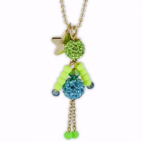 Sautoir poupée cristal bleu et vert fluo