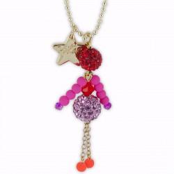 Sautoir poupée cristal mauve, rouge et rose fluo