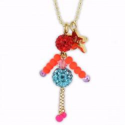 sautoir poupée cristal bleu et orange fluo