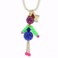 Sautoir poupée cristal bleu, rose et vert fluo