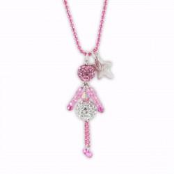 Sautoir poupée cristal rose bonbon et argent