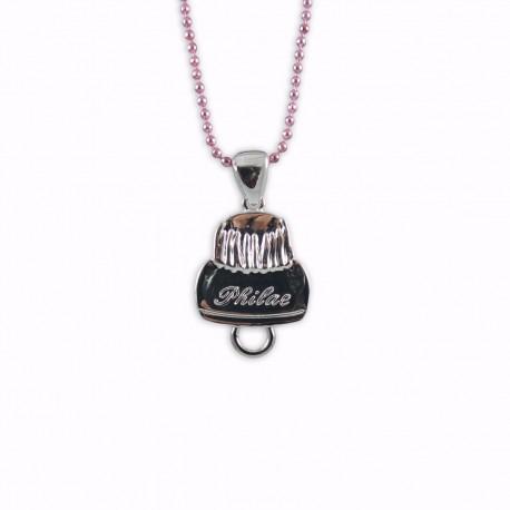 Médaille religieuse pour charms montée sur chaîne rose pâle