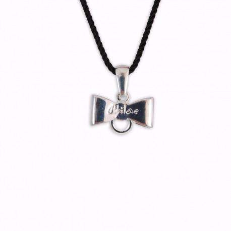Médaille nœud pour charms montée sur cordon noir