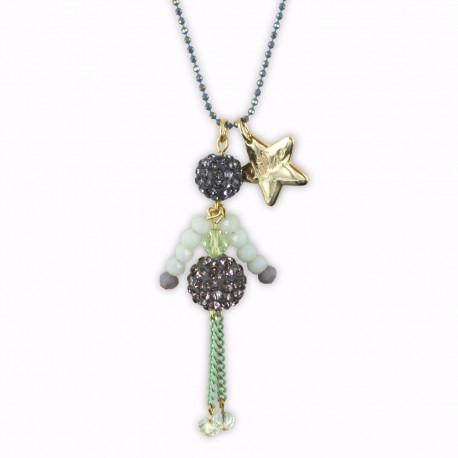 Sautoir poupée cristal vert d'eau et or