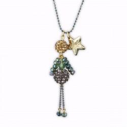 Sautoir poupée cristal turquoise reflets et or