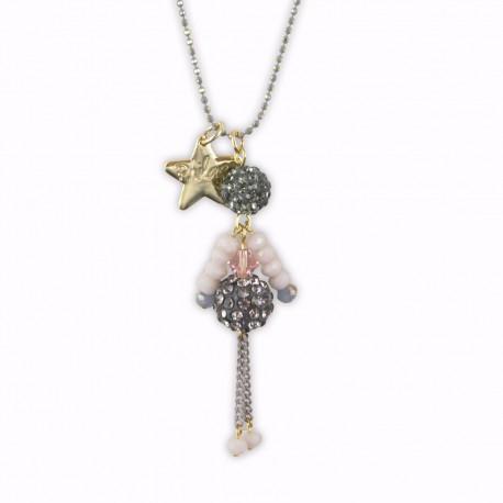 Sautoir poupée cristal nude et or