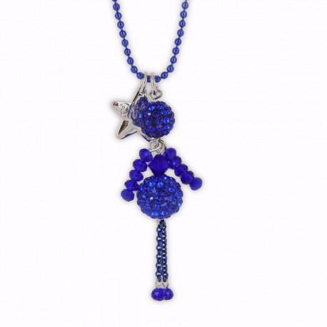 Sautoir poupée cristal bleu électrique et argent