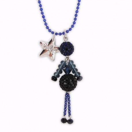 Sautoir poupée cristal bleu nuit et noir