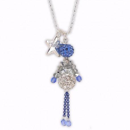 Sautoir poupée cristal bleu lavande et argent
