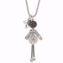 Sautoir poupée cristal gris et argent