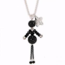 Sautoir poupée cristal noir et argent
