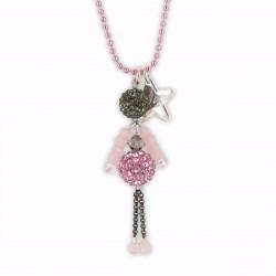 Sautoir poupée cristal rose et gris