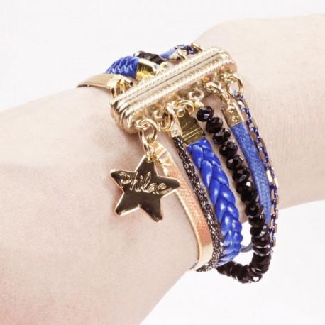 Bracelet aimant bleu or - Pochette photo aimante ...