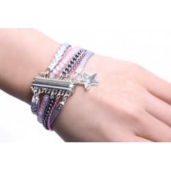 Bracelet aimanté rose & argent