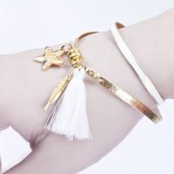 Bracelet aimanté blanc, plume dorée