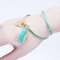 Bracelet aimanté turquoise, plume dorée