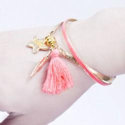 Bracelet aimanté corail, plume dorée