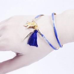 Bracelet aimanté bleu, plume dorée