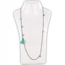 Sautoir perles & chaîne, turquoise et argent