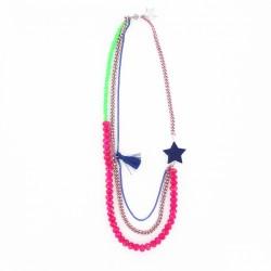 Collier étoile et perles rose & bleu