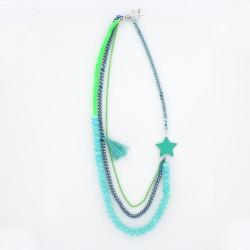 Collier étoile et perles turquoise & vert fluo