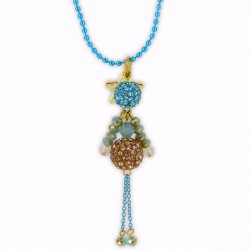Sautoir poupée cristal turquoise et or