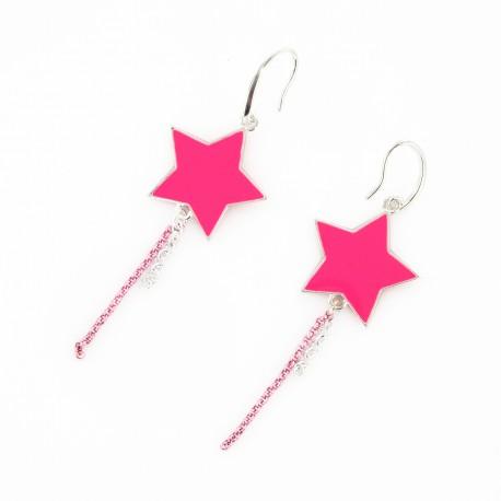 B.O. étoiles fluo rose & argent