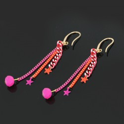 B.O. chaînes & mini étoiles rose & orange