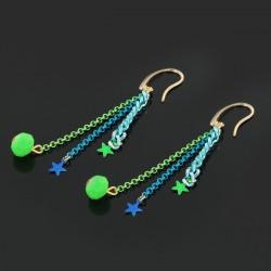 B.O. chaînes & mini étoiles turquoise & vert