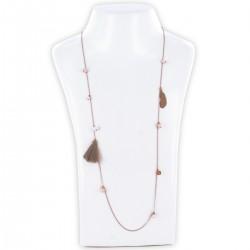 Sautoir perles & chaîne, nude et or