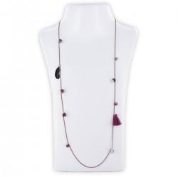 Sautoir perles & chaîne, bordeaux, noir & argent