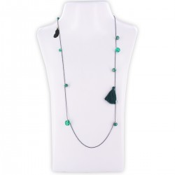 Sautoir perles & chaîne, émeraude et or