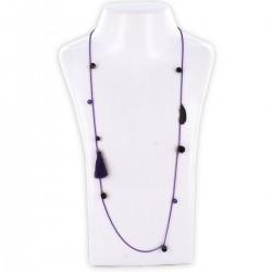 Sautoir perles & chaîne, violet et or