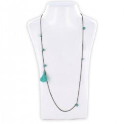 Sautoir perles & chaîne, turquoise & argent
