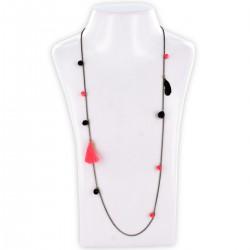 Sautoir perles & chaîne, corail, noir et or