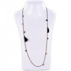 Sautoir perles & chaîne, camouflage et or
