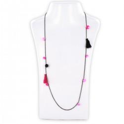 Sautoir perles & chaîne, fluo rose et noir