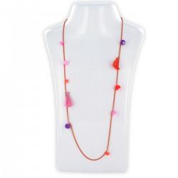 Sautoir perles & chaîne, fluo rose, orange et violet