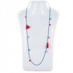 Sautoir perles & chaîne, fluo rose et bleu
