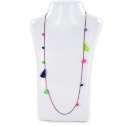 Sautoir perles & chaîne, fluo rose, fluo vert et bleu