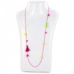 Sautoir perles & chaîne, fluo rose et fluo vert