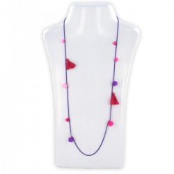 Sautoir perles & chaîne, fluo rose et violet