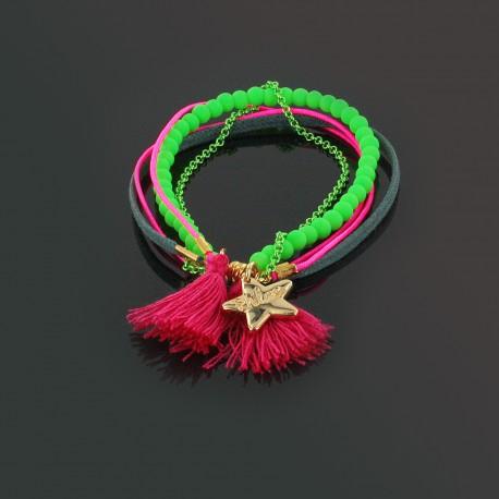 Bracelet pompons, perles et chaîne, rose et vert