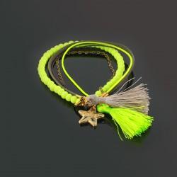 Bracelet pompons, perles et chaîne, kaki et jaune