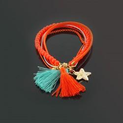 Bracelet pompons, perles et chaîne, orange et turquoise