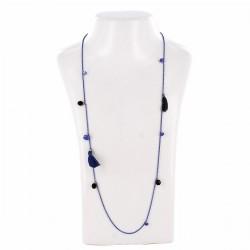 Sautoir perles & chaîne, bleu, noir et or