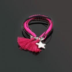 Bracelet pompons, perles et chaîne, rose et noir