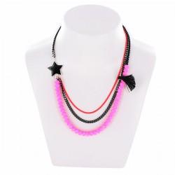 Collier étoile et perles rose & noir