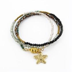 Bracelet triple, camouflage et or